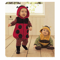 Hot sale Fancy Baby Romper Outfit  Baby Clothes Toddler Fleece Ladybird Bee Costume baby Rompers winter warm 0 ~24M B371