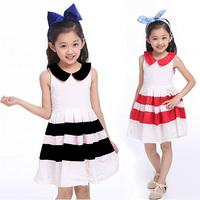 HOT Trend Stripe children clothing for summer sleeveless girls tutu dress baby dresses costume party princess Kids clothes HA091