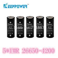 free shipping 5 pcs KeepPower IMR 4200mah protected 26650 rechargeable  battery flashlight li ion 3.7v for flashlight headlamp