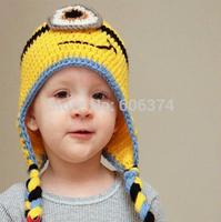 New Hot Sale Newborn Baby Knitted Beanie Cap Crochet Handmade Cap Winter Warm Despicable Me Hat Minion Hat Photo Props Cartoon