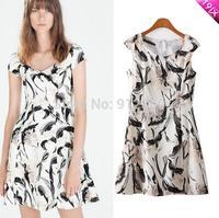 ZRRA 2015 New Spring autumn European style casual short-sleeved V-neck ink printing dress women's dress