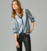 2015 Spring Women Long Sleeve O Neck Vintage Print Blouse Desigual Plus Size Camisas Tops Femininas Elegant Lady Body Suit Shirt