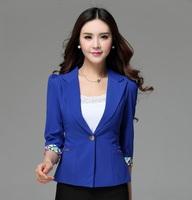 Ladies Formal Blue Blazer Women Jackets Spring 2015 New Female Work Wear Clothing Blaser Feminino Office Uniform Styles