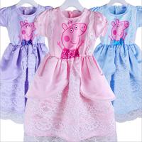 kids peppa pig dress girls  children's wear summer for girls toddler princess dress baby girls dress cotton Kids clothes A168