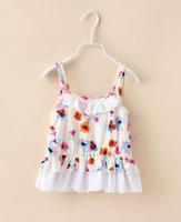 2015 Summer New children princess dress girls flowers printing lace hollow falbala suspender dress kids cotton clothes A5462