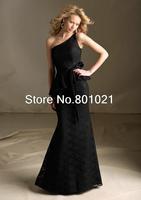 New In Trend One Shoulder Floor Length Lace Trumpet Mermaid Black Bridesmaid Dress