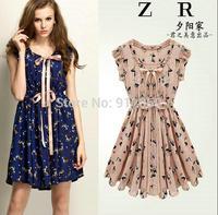 ZRAA S-XL / ladies dress summer new European printing waist dress sleeveless chiffon women dress