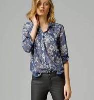 2015 Spring Women Long Sleeve Cotton Vintage Print Blouse Desigual Plus Size Camisas Tops Femininas Elegant Lady Body Suit Shirt