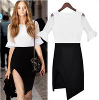 Vestidos New 2015 Summer Women Dress Bodycon Patchwork Lace sleeves Irregular Dress Elegant Party Dresses Feminino Casual Dress