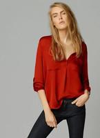 2015 Spring Women Long Sleeve Chiffon Pockets Red Blouse Desigual Plus Size Camisas Tops Femininas Elegant Lady Body Suit Shirt