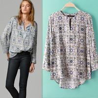2015 Spring Women Long Sleeve Cotton Asymmetry Vintage Print Blouse Desigual Camisas Tops Femininas Elegant Lady Body Suit Shirt