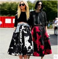 2015 fashion vintage saia black and white print expansion skirt high waist womens tutu retro knee length flare skirts for women