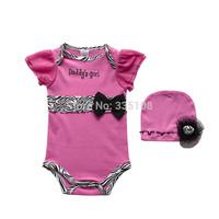 Drop Shipping New 2015 Baby Romper Fashion Girls Clothing Sets Romper + Flower Hat Infantil Zebra  2 piece Jumpsuit  exclusive