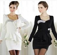 Free Shipping Super Flash Diamond Gem Noble Ladies Bow Dress, Party Tight Long Sleeve Women Dresses Suit Mini Dresses 2 Color