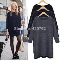 Fashion Ladies 2015 New Womens Fashion Zipper Long Sleeve Slim Casual Elegant Mini Dress Plus Size XL-5XL