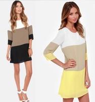 2015 New Loose Dress Patchwork Tropical Women Summer Dress O Neck Chiffon Plus Size Women Casual Dress 2 Colors