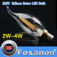Foxanon Brand E14 LED Filament Light Glass Housing Blub Lamp 220V 2W 4W Warm White Brightness 360 Degree Retro Candle Chandelier