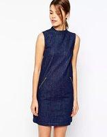 2015 New Women Sleeveless O Neck Mini Sexy Straight Bodycon Blue Denim Cotton Dress Desigual Lady Fashion Evening Party Dresses