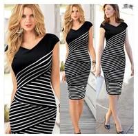 2015 New Fashion Girl Women Summer Dress Casual Short Sleeve Top Striped Bodycon Pencil Midi Dresses Black and White S- XL HYL1