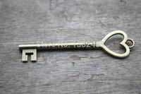 10pcs--Key charms,Antique Tibetan bronze Heart Skeleton Key Charms Pendants Huge Size 25x75mm