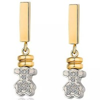 rose/silver/gold crystal bear earring/3 options