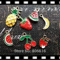 49Pcs Mix 7Styles Fruit Style Glazing Pendants KC gold Alloy Charms Jewelry Charms