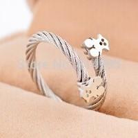 silver color simple pretty bear rings