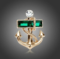 Fashion Lovely ANTIQUE Rhinestone Nautical Anchor Pin Brooch Sailor Jewelry 1PC
