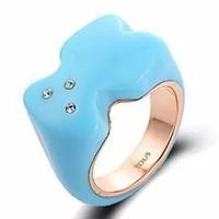 14k rose color high quality bear ring/blue,black rings