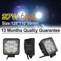 2015 limited hot sale  car styling 6pcs/ lot 27w black spot led off road square work light lamp 12v suv atv car truck