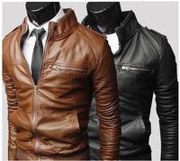 New leather jacket men winter coat stand-up collar chaquetas de cuero hombre brown color jaqueta couro