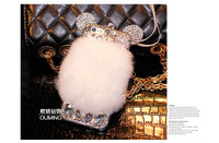 2015 The Newest Warm real fur rex rabbit Genuine Leather Mosaic Diamond case for sumsung s3 s4 s5 note 2/3/4 phone 6 6plus