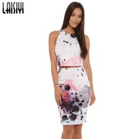 Free shipping 2014 New Womenjacquard sleeveless o neck 2 two piece set sexy hollow out celebrity evening Party Dresses