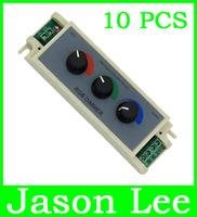 10PCS 3CH Adjustable LED Dimmer Brightness Control Adjust Controller DC 12V 24v 3 X 3A 9A For RGB 5050 Light Strip Lamp Jasonlee