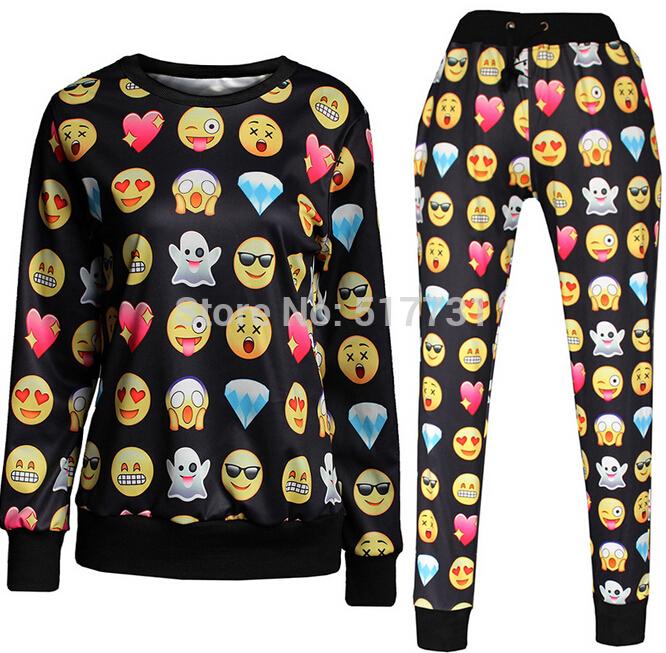 New 2014 Men/Women Sportwear 3D Tracksuits Print Cartoon emoji Jogging Suits Sweat Shirts + pants 2 piece set Free shipping(China (Mainland))