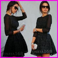 spring autumn woman casual dress women contrast color print dress lace dresses mini OL dress free shipping