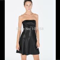 2015 Sexy Women Clubwear PU Faux Leather Party Skater Pleated Mii Dress 6XLPlus Size  Boob Tube Strapless Vestidos Femininos