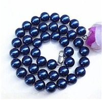 w2564 charming 8mm blue sea shell pearl necklace 18'' J-266