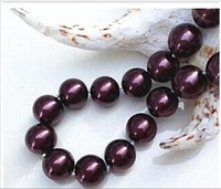 w2562 charming 14mm Red wine sea shell pearl necklace 18'' J-268