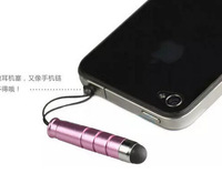 Colorful Screen Touch Pen Stylus For iPhone 4 5 6 Samsung iPad With Earphone Anti Dust Plug