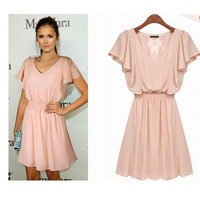 2015 Women Summer Dress Ladies V-Neck Short Butterfly Sleeve Solid Chiffon Dresses Slim Waist Pink High Quality W/lining