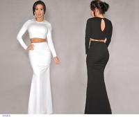 roupas femininas Long Sleeve Wjite Black Maxi Long Skirt Set in Two-piece LC6624 saias femininas faldas