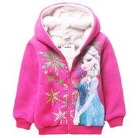 New 2014 Frozen Winter Coat Long Sleeve Cashmere Warm Thick Hooded Down Coat Elsa Parkas Outerwear Coat Winter Frozen Costumes