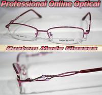 All alloy Diamond bow pink women Optical Custom made optical lenses Reading glasses +1 +1.5 +2+2.5 +3 +3.5 +4 +4.5 +5 +5.5+6