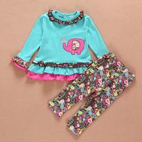 New 4set Children girl's 2015 Spring girl set  elephant Long sleeve t-shirt +Printed flower pant 2-piece/set LZ-T0361