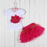 New 4set Children girl's 2015 Summer girl set  Cat Short sleeve t-shirt +TUTU Short skirt 2-piece/set LZ-T0101
