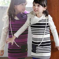 Free shipping -5pieces/lot -2015 Korean girls fashion cotton striped bow dress + Backpack - Princess Dress