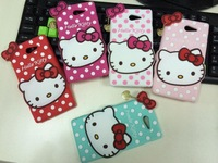 Hot Cute Fashion Polka Dot Hello Kitty Rubber Soft Silicone Skin Case For SONY Xperia M2 S50H Protective Covers Free Shipping