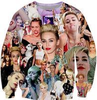 2014 new celebrity harajuku style fashion 3d print Miley Cyrus Paparazzi Sweatshirt tops pullovers for woman girls boys unisex
