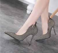 women pumps 2015 fashion classic Houndstooth ladies shoes thin heel pointed-toe British style sexy shoes free shipping 403